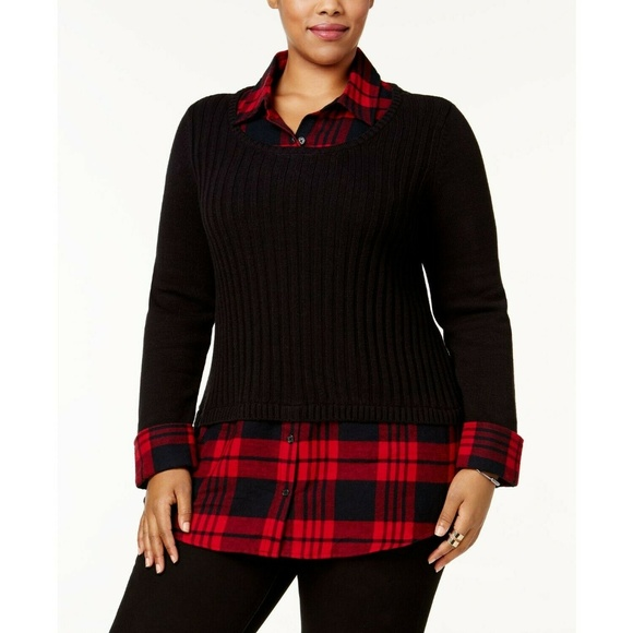 Style & Co Sweaters - Style&Co B+Red Plaid Ribbed Layered-Look Sweater